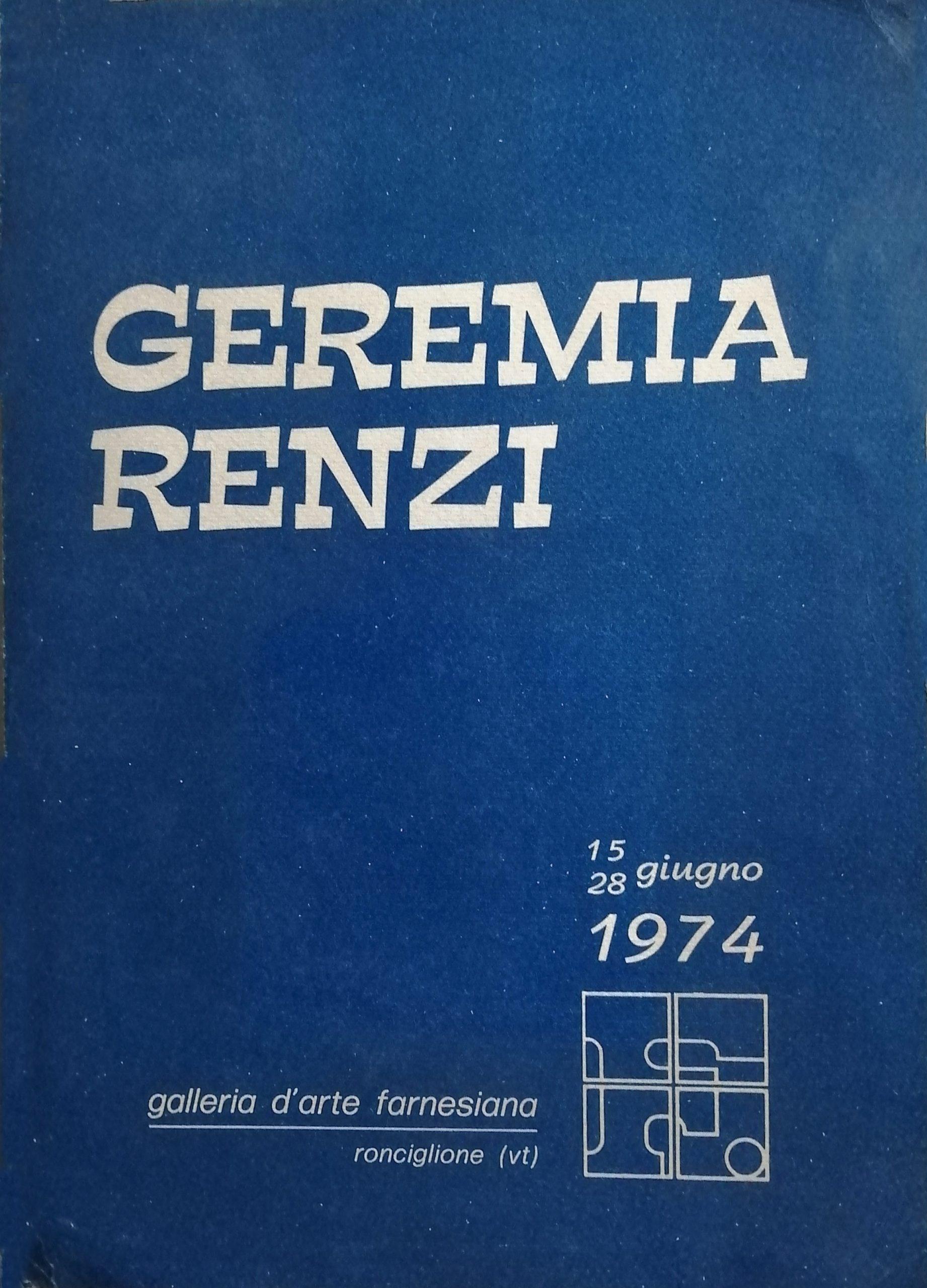 1974 Geremia Renzi Galleria dArte Farnesiana Ronciglione scaled - Bibliography/ Catalogues