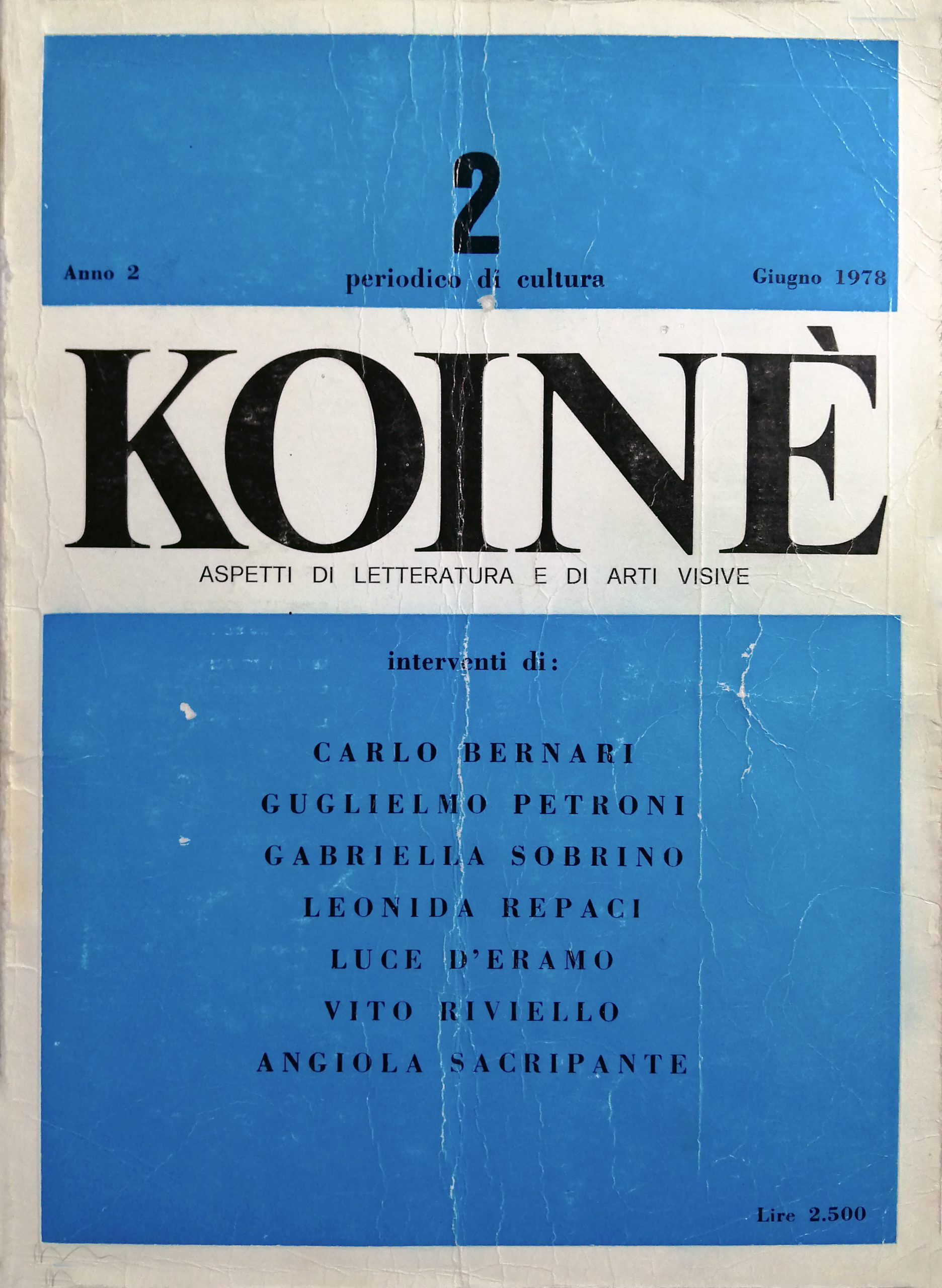 1978 Koinè periodico  scaled - Bibliography/ Catalogues