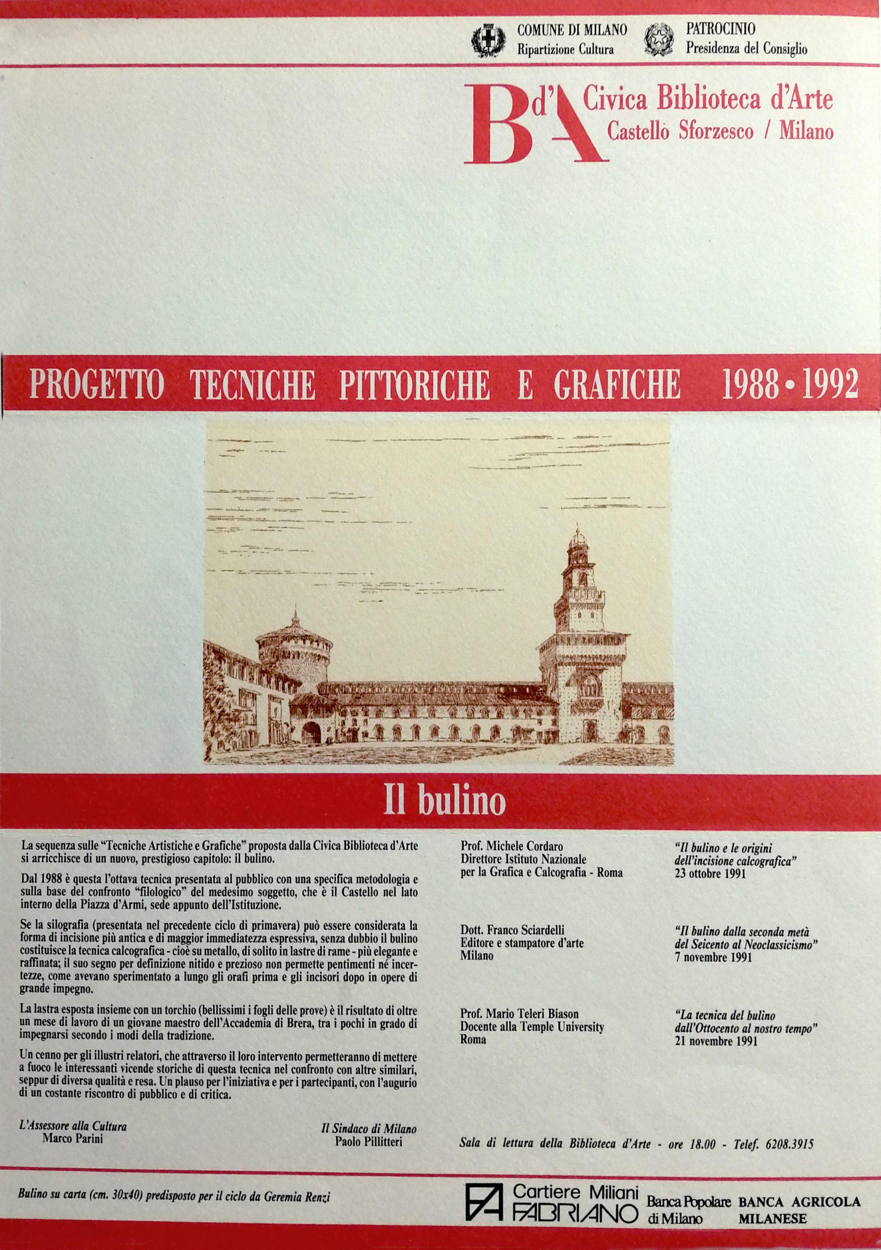1991 Il Bulino castello Sforzesco Milano scaled - Bibliography/ Catalogues